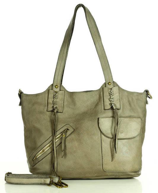 Shopper bag beżowy MARCO MAZZINI v91f