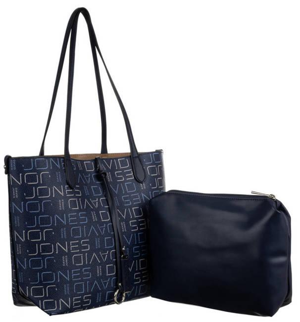 Shopper bag granatowy print David Jones 6534-2 BLUE