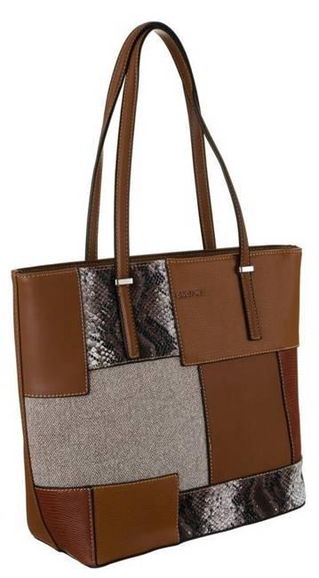 Shopper bag koniakowy David Jones 6279-2 COGNAC