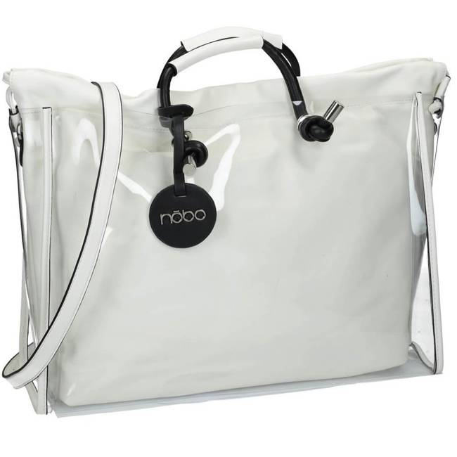 Shopper damski transparentny, biały Nobo  NBAG-I0420-C000