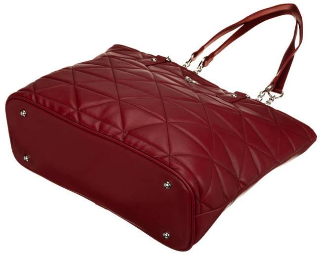 Shopper pikowany bordowy David Jones CM6222 DARK RED