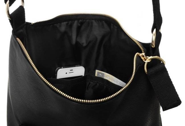 Shopperka czarna zamszowa kieszeń Badura  T_D178CZ_CD