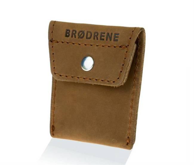 Skórzana bilonówka coin wallet BRODRENE CW02 jasnobrązowa