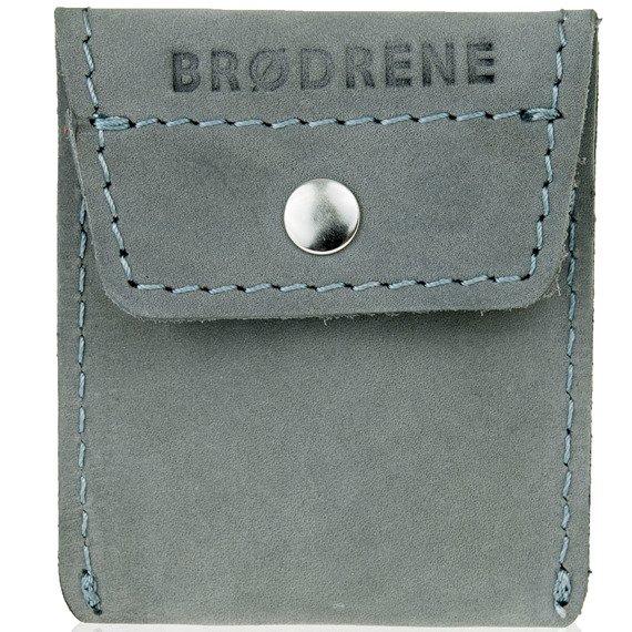 Skórzana bilonówka coin wallet BRODRENE CW02 szara