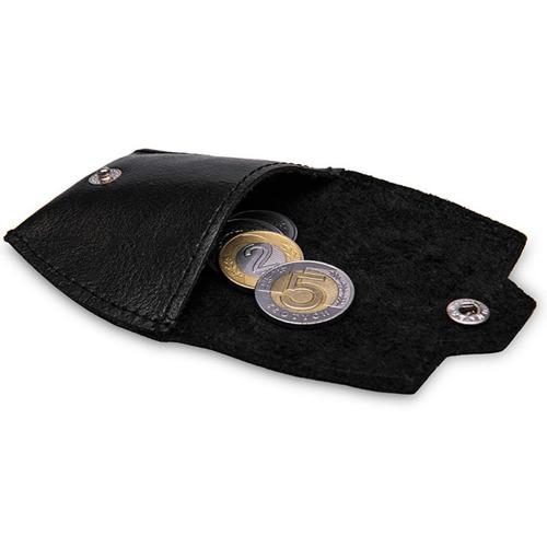 Skórzana bilonówka, portfel na monety czarny Solier SA10