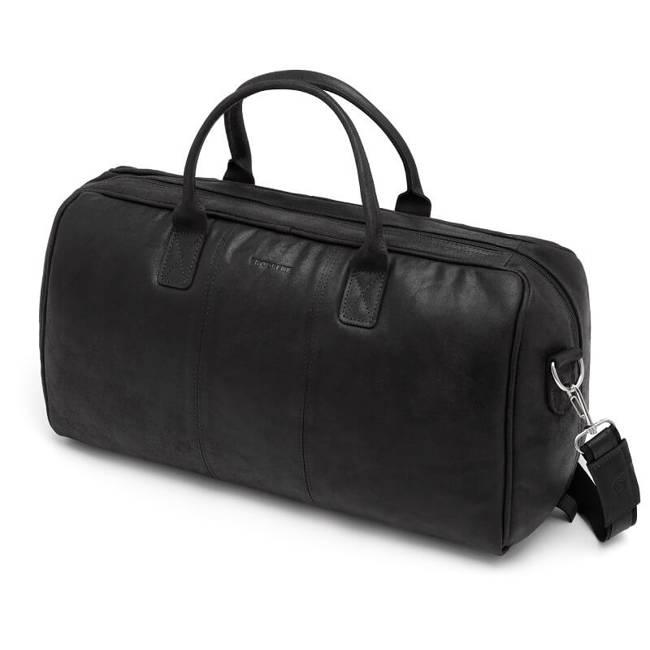 Skórzana podróżna torba weekendowa Brodrene BL10 czarna