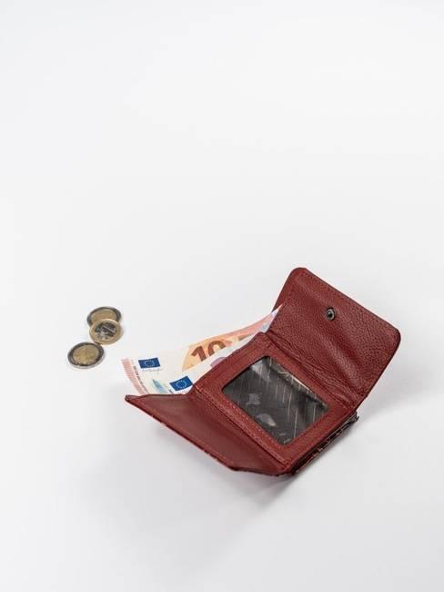 Skórzana portmonetka damska czerwona Lorenti 55287