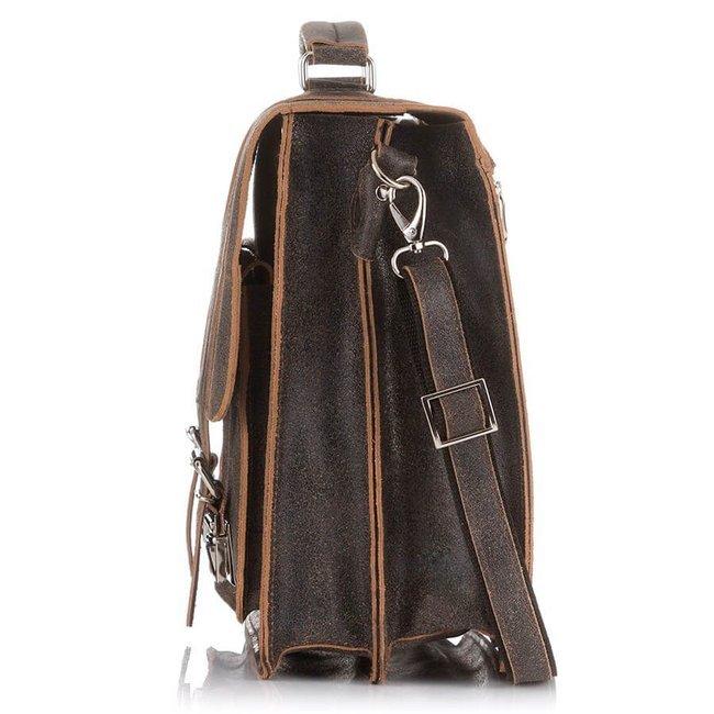 Skórzana teczka torba męska vintage j.brązowa PAOLO PERUZZI GA318