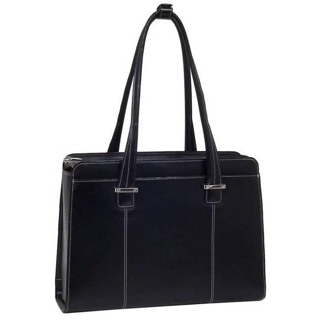 """Skórzana torba damska na laptopa 15,4"""" Mcklein Alexis 96545 czarna"""