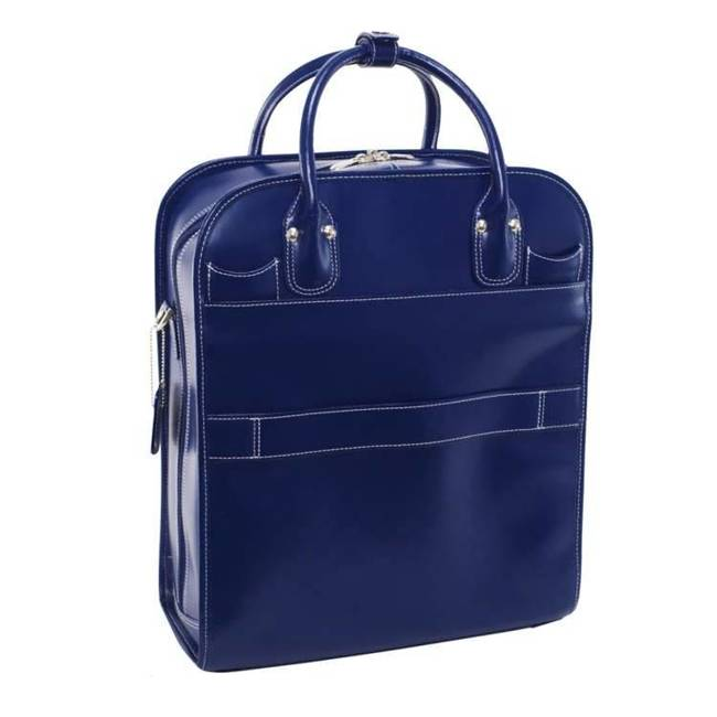 """Skórzana torba damska na laptopa 15,6"""" z odpinanym wózkiem Mcklein La Grange granatowa"""