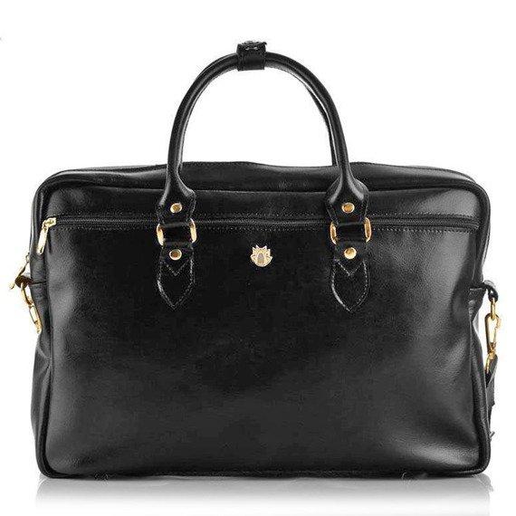 Skórzana torba damska na laptopa Solier FG05 czarna