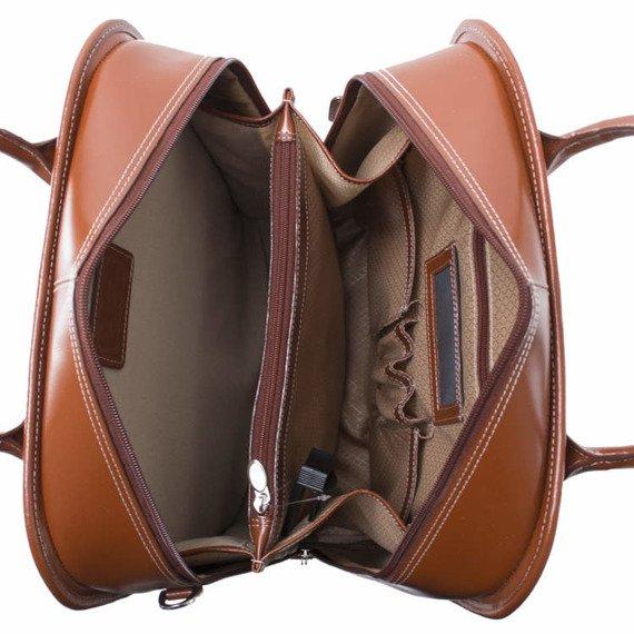 Skórzana torba damska podróżna z odpinanym wózkiem Mcklein La Grange Brązowa