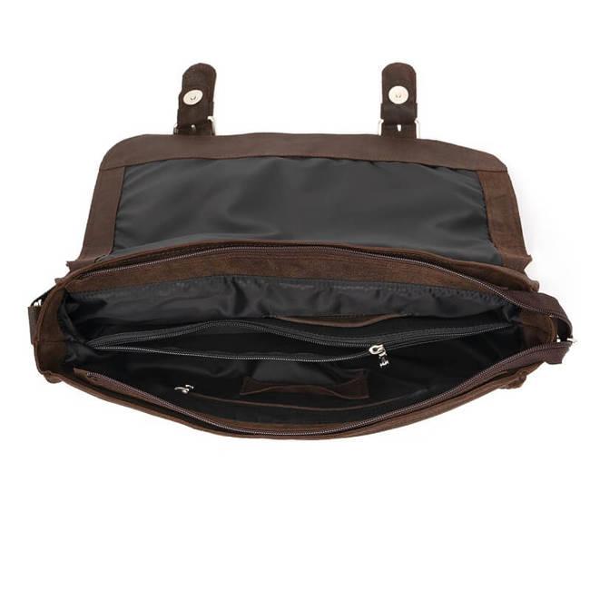 Skórzana torba męska BRODRENE BL11XL ciemnobrązowa