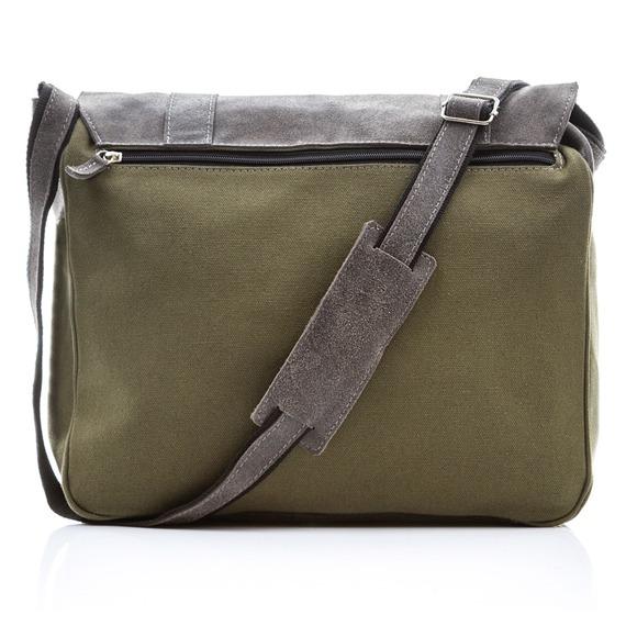 Skórzana torba męska Paolo Peruzzi Adventure GA132 zielono-szara