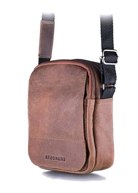 Skórzana torba męska listonoszka BRODRENE BL04 jasnobrązowa