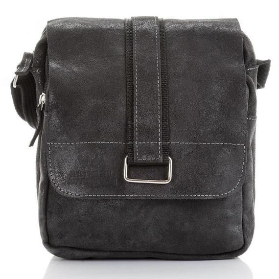 Skórzana torba męska listonoszka Paolo Peruzzi Adventure GA131 czarna