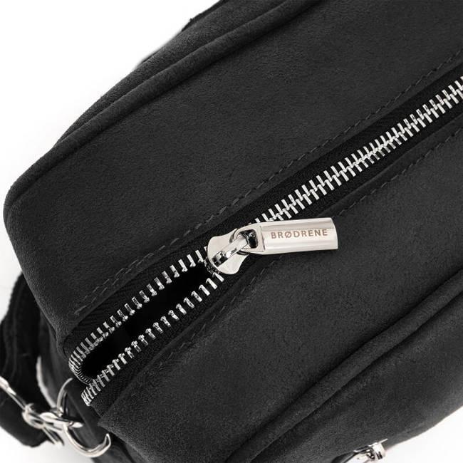 Skórzana torba męska na laptop BRODRENE BL02 czarna