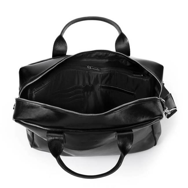 Skórzana torba męska na laptopa 17' BRODRENE R03XL czarna