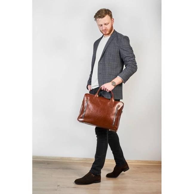 Skórzana torba męska na laptopa BRODRENE R02 jasnobrązowa
