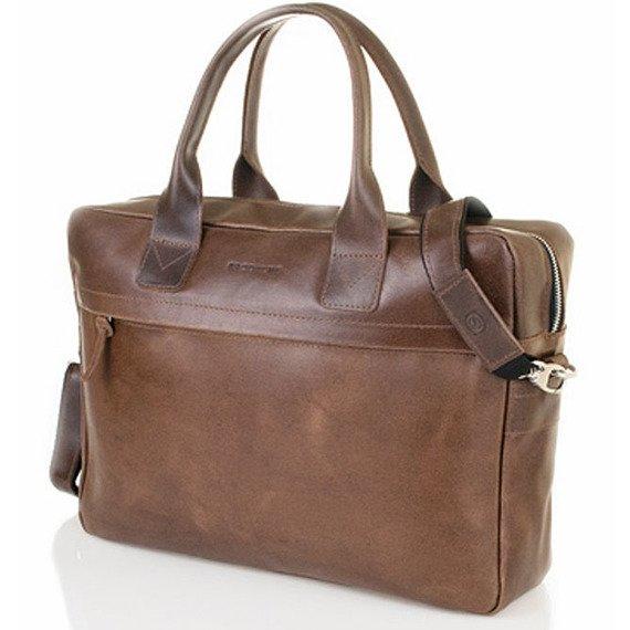 Skórzana torba męska na laptopa BRODRENE R03 jasnobrązowa