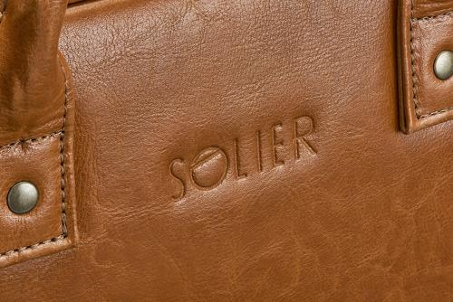 Skórzana torba męska na laptopa jasnobrązowa SOLIER