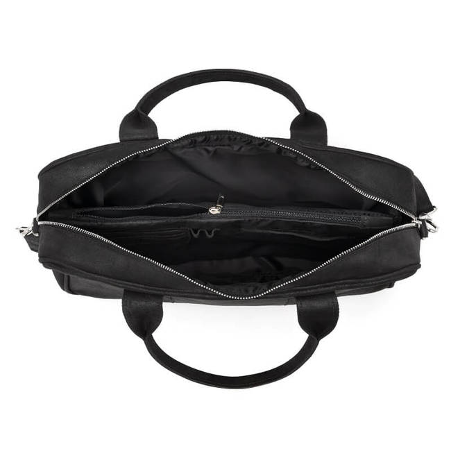 Skórzana torba męska na ramię BRODRENE BL01 czarna