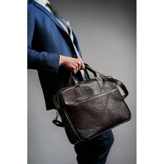 Skórzana torba męska na ramię, laptop Brodrene R12 ciemny brąz