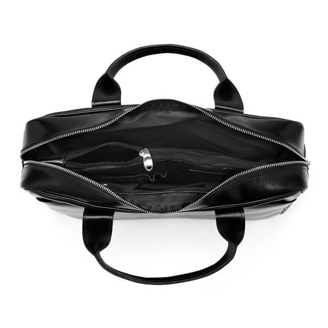 Skórzana torba męska na ramię, laptop Brodrene R12 czarny
