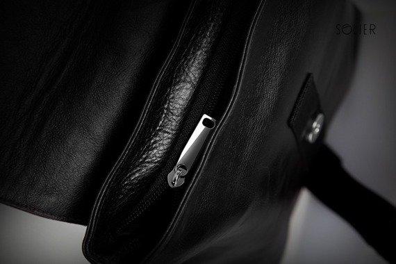 Skórzana torba męska na ramię, raportówka SOLIER czarna