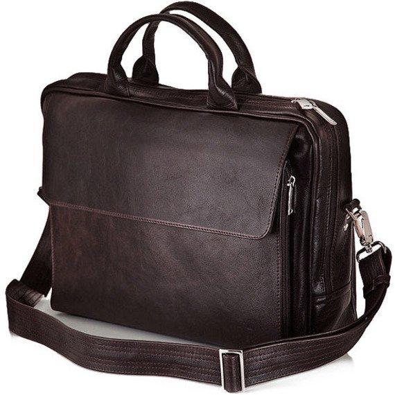 Skórzana torba męska na ramię, torba na laptop SOLIER ciemnobrązowa
