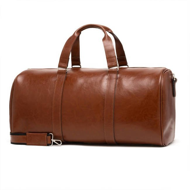 Skórzana torba męska podróżna BRODRENE R20 koniakowa