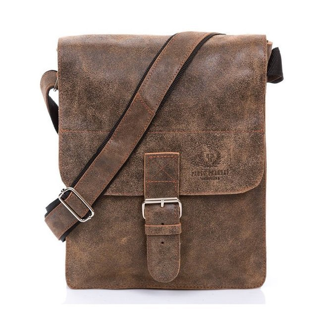Skórzana torba męska vintage Paolo Peruzzi GA322 j.brązowa