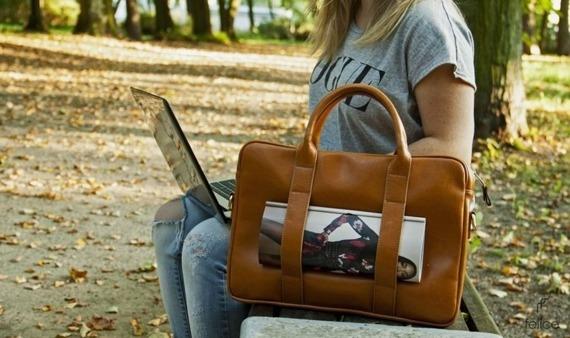 Skórzana torba na laptopa Felice Gold FG04 brązowy vintage