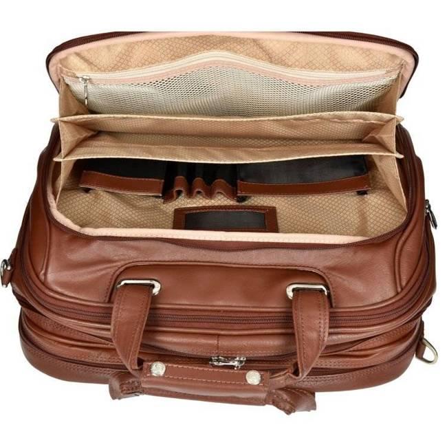 """Skórzana torba podróżna na laptopa 17"""" z odpinanym wózkiem Mcklein Midway 86604 brązowa"""