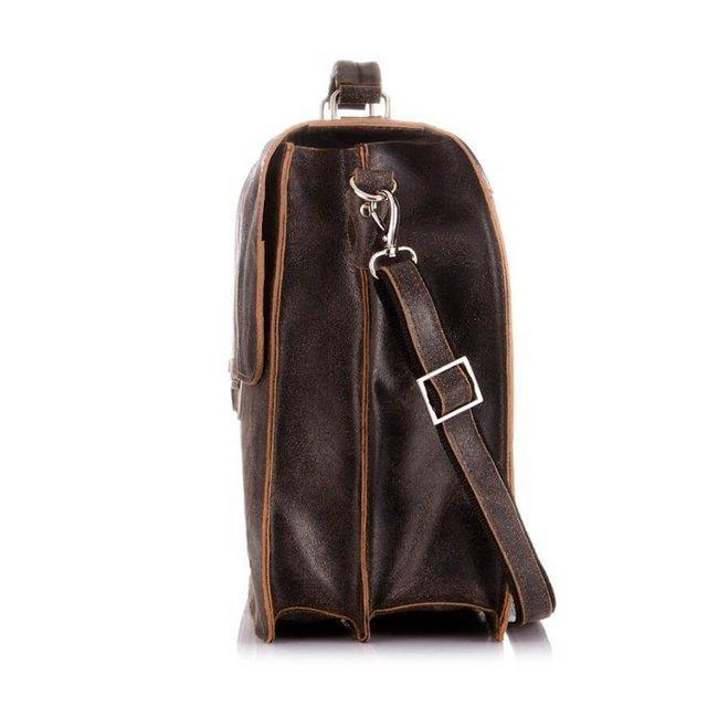 Skórzana torba teczka męska vintage Paolo Peruzzi S-04 j.brązowa