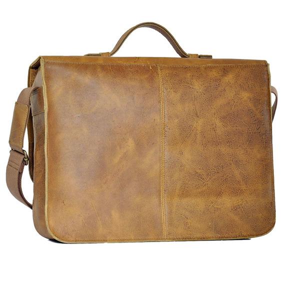 Skórzana torba/teczka na laptopa unisex Daag Woody 1 koniak