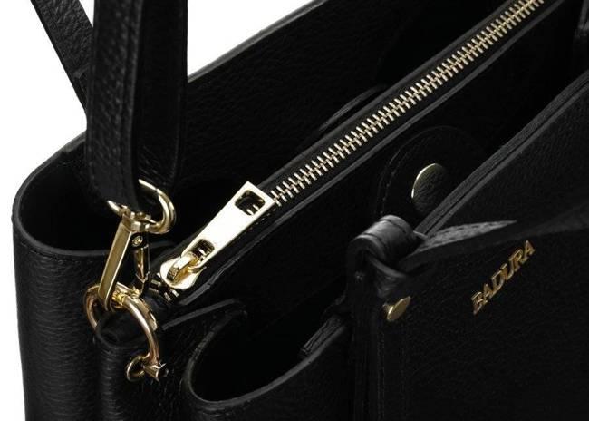 Skórzana torebka damska czarna Badura T_D211CZ_CD