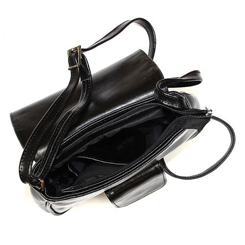 Skórzana torebka damska listonoszka czarna DAN-A T358