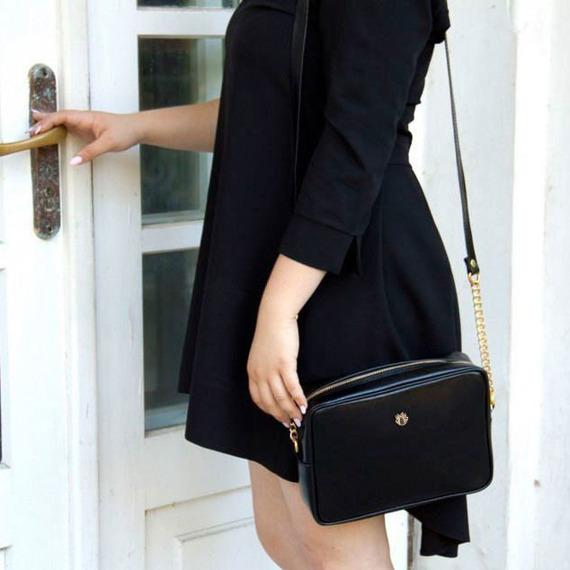 Skórzana torebka listonoszka Felice Gold FG03 czarna
