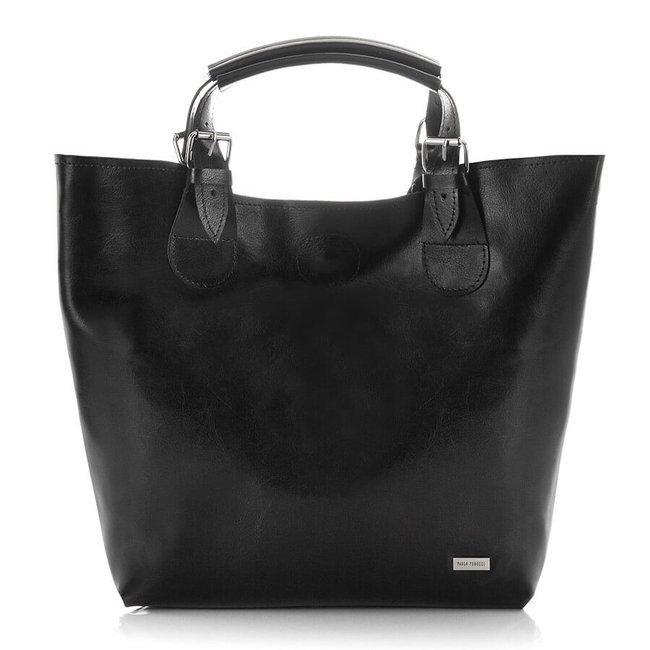 Skórzana torebka shopper bag 2w1 Paolo Peruzzi Z-25-BL czarna