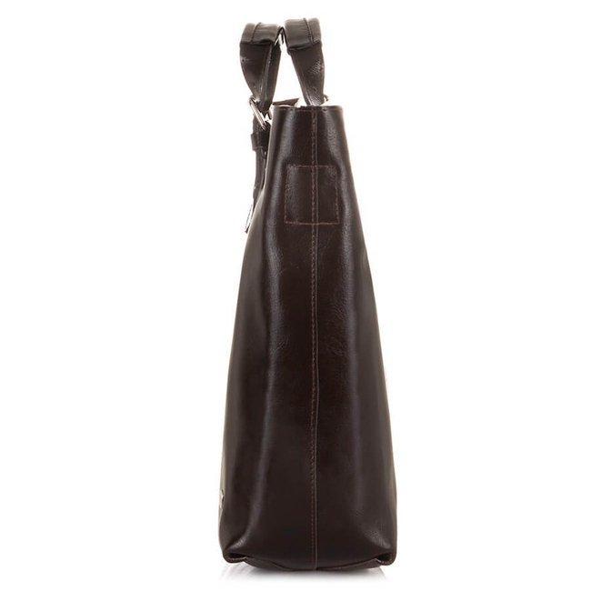 Skórzana torebka shopper bag 2w1 Paolo Peruzzi Z-25-BR ciemnobrązowa