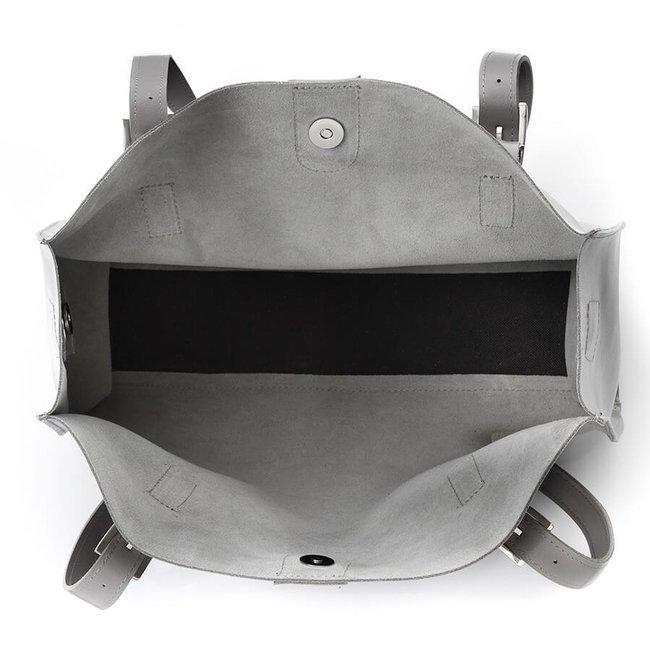 Skórzana torebka shopper bag 2w1 Paolo Peruzzi Z-26-GR szara