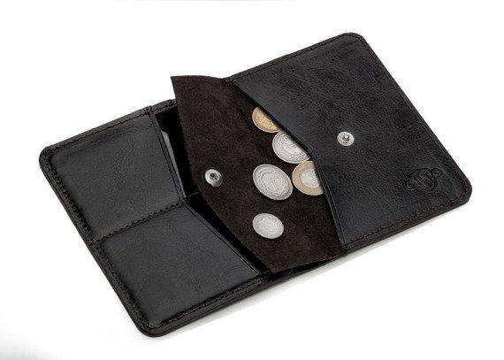 Skórzany Cienki portfel męski z bilonówką SOLIER SW15A SLIM ciemny brąz