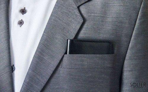 Skórzany cienki portfel męski z bilonówką SOLIER SW15 SLIM czarny