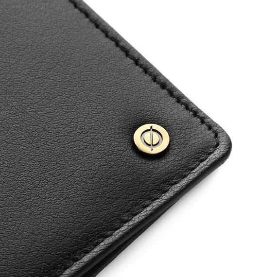 Skórzany cienki portfel męski z ochroną RFID Brodrene 5574 czarny