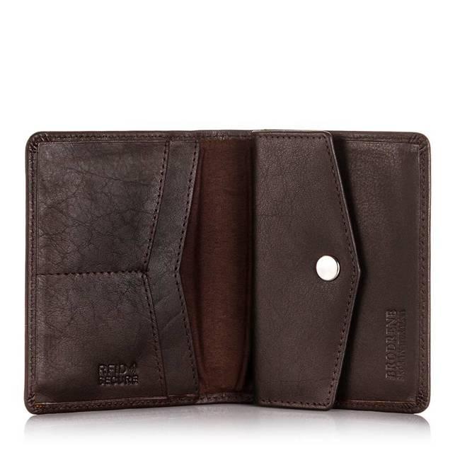 Skórzany cienki portfel męski z ochroną RFID Brodrene 5576 c.brązowy