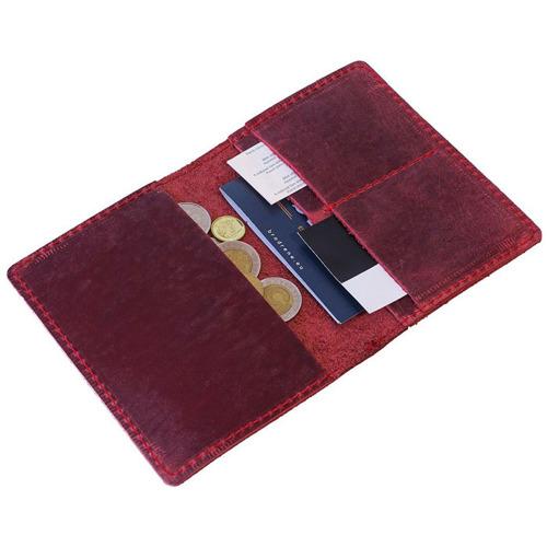 Skórzany cienki portfel slim wallet BRODRENE SW01 czerwony