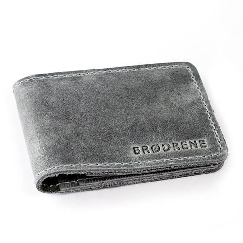 Skórzany cienki portfel slim wallet BRODRENE SW02B szary