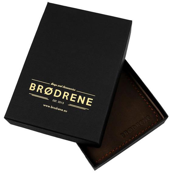 Skórzany cienki portfel slim wallet BRODRENE SW03 szary