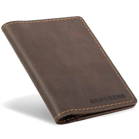 Skórzany cienki portfel slim wallet BRODRENE SW05 ciemnobrązowy